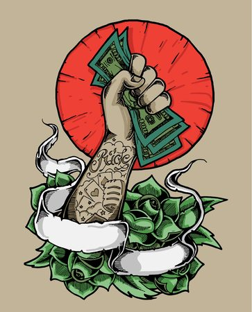 This Illustration is an element for poster or t-shirt to propagate, the power of money or the absolute rich mafia, stylized in tattoo art