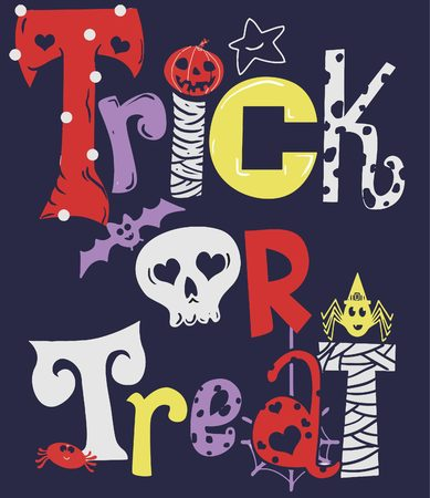 This Trick or Treat Illustration is recommended for halloween t-shirt prints