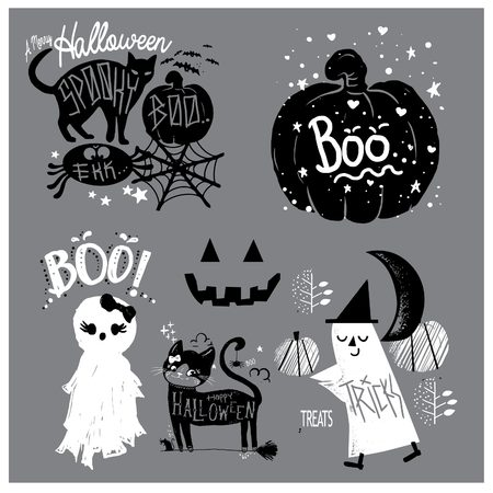 Set Cute Illustration of halloween, with cat, boo, little ghost, pumpkin and the witch in black and white Illustration