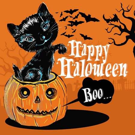 The Black Cat come up from the halloween pumpkin illustration in vector, editable for greeting card or t-shirt