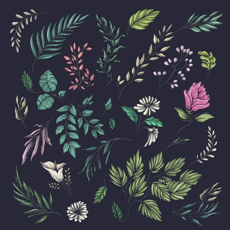 Colorful flower and leaf theme pattern for summer clothes print
