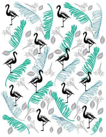 Pattern with hand drawn flamingo and coco leaf for summer t-shirt Illustration