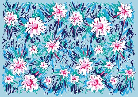 Illustration for Pattern textile print, with kids painting style