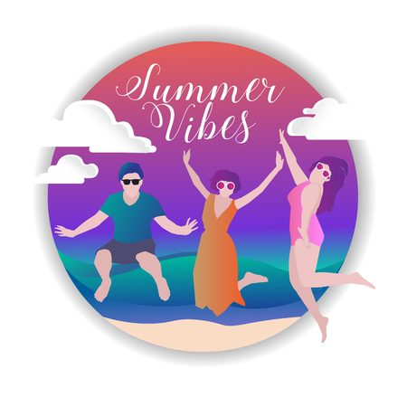 Happy youngster celebrate the summer holiday Illustration