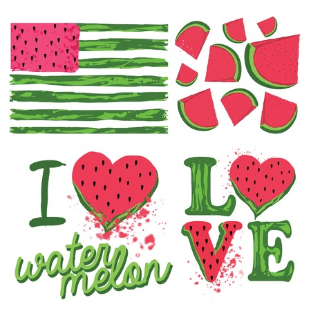 Watermelon theme illustration recommended for t-shirt summer prints Illustration