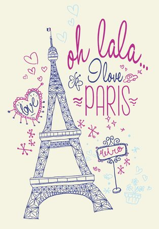 Hand drawn ornament of love in paris, girly illustrated recommended for t-shirt print