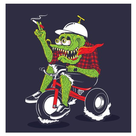 Crocodile monster riding bicycle illustration, recommended use for t-shirt and thematic poster Stock Photo