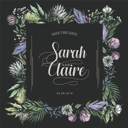 Template Title for wedding or summer sale, with soft color floral elements