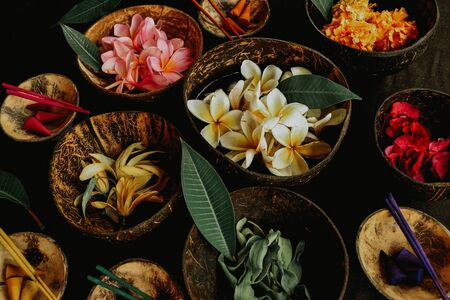 spa elements with any kind of tropical flowers, frangipani and other