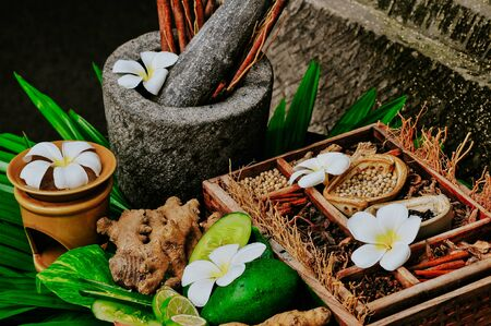 Balinese spa ingredients with frangipani flower and other spices