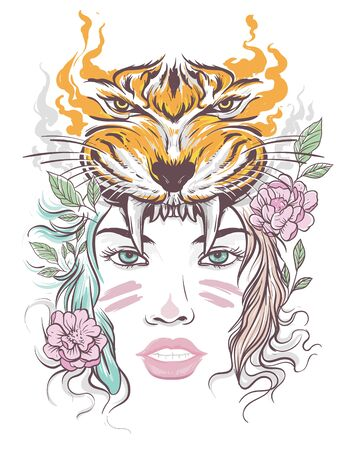 Beautiful lady and tiger hat colored tattoo art Ilustrace