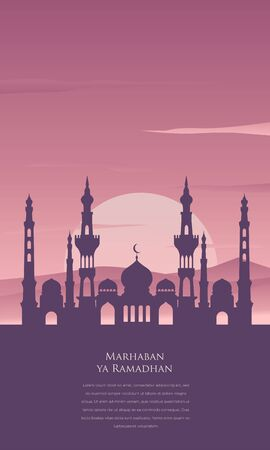 Marhaban ya ramadhan illustration with gradient mosque