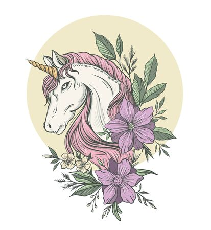Beautiful luxury unicorn illustration with flowers decorated