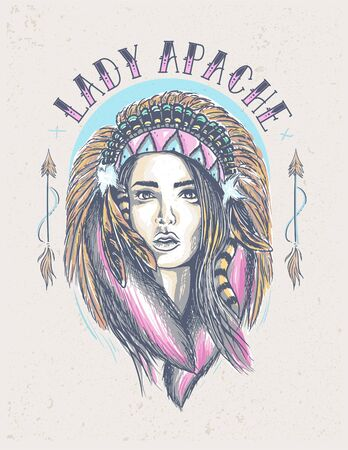 beautiful Lady Indian Apache Clothing Design Ilustrace
