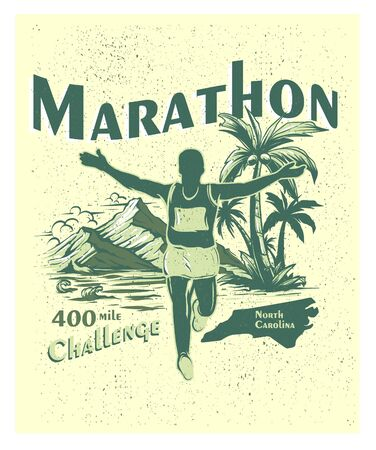 Summer Marathon Run vintage poster art