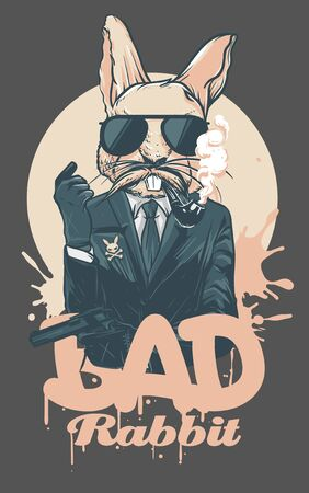 Bad Rabbit character hold a gun and getting smoked Ilustrace