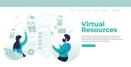 Virtual Resources Landing Page Concept Ilustrace