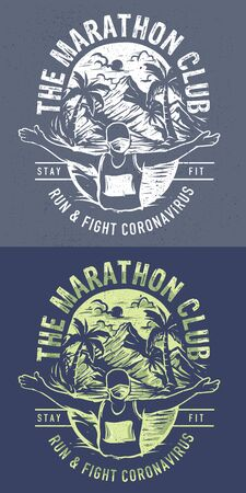 Marathon Club Runner Illustration fight corona virus Ilustrace