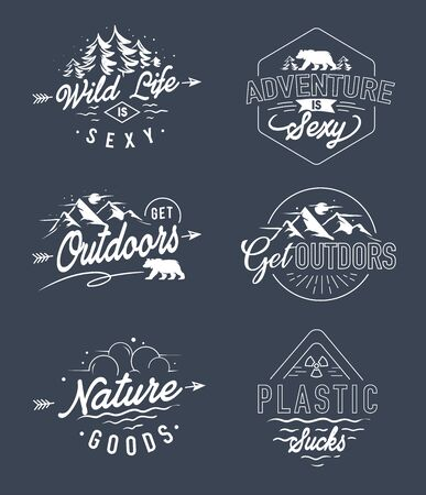 set adventure outdoor line art badge