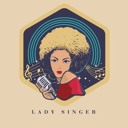 brown skin blonde hair lady singer logo Illustration