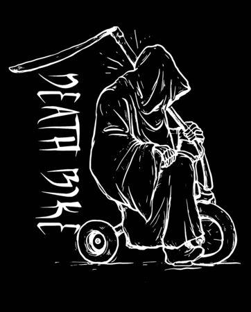 Death Bike line art illustration