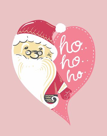 love heart santa say hohoho kids illustration