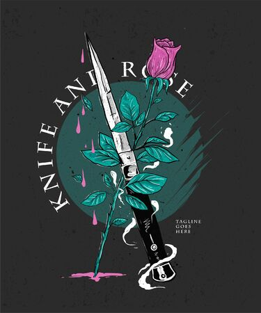 knife and rose hand drawing illustration for apparel brand or band merchandise
