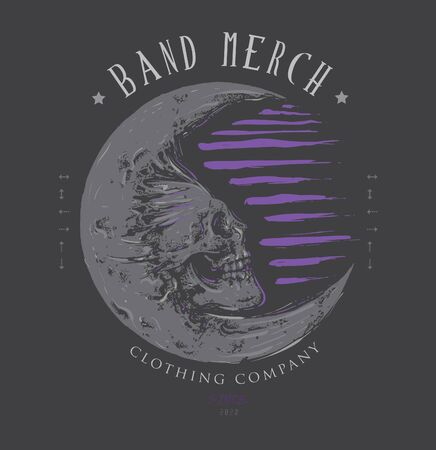 skull and the moon design for band merchandise