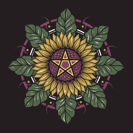 Sun flower and leaf mandala arranged for clothing brand