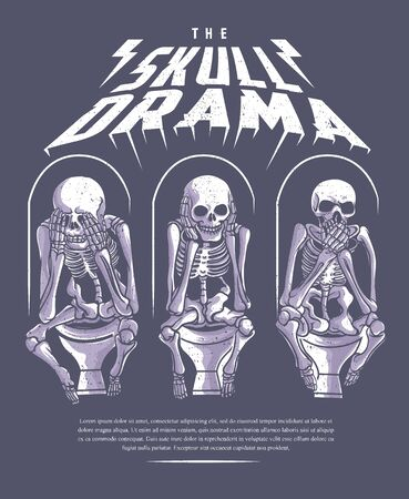 three skull skeleton sitting in the toilet Ilustrace