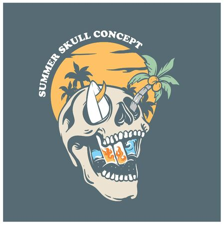 Summer Skull Concept Vector Art