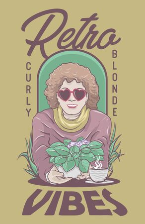 Curly Blonde Retro Glasses Lady with coffee and plant 矢量图像