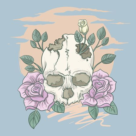 Apparel design with classic skull and roses surrounded soft tone Ilustrace