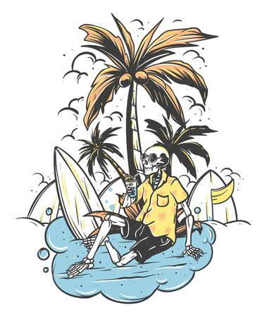 Skeleton Surfer relax under the palm tree