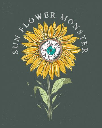 sunflower monster grunge illustration for band merchandise