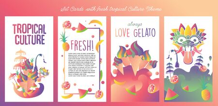 Set cards with fresh juicy, ice cream and other tropical culture