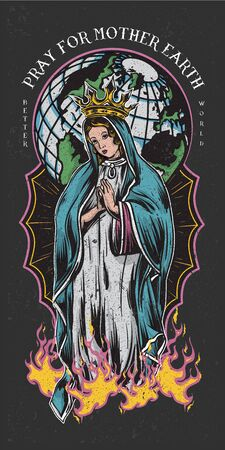 pray for mother earth colored tattoo style illustration Ilustrace