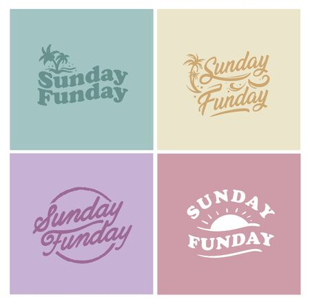 Sunday Fun day Simple typography art Ilustrace