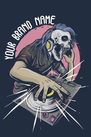 Skull character as disc jockey at night club Ilustrace