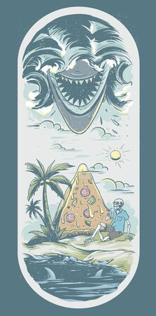 skeleton skull relax in the beach side in front of big pizza combine with angry shark illustration for skate board