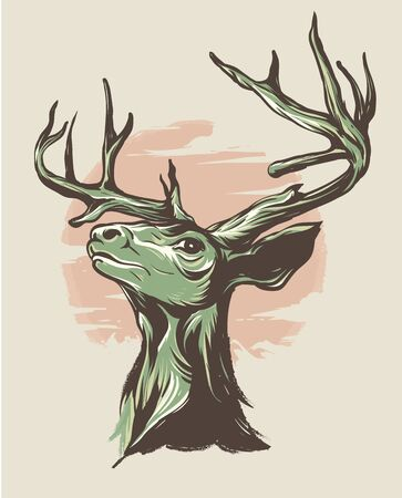 strong deer head with big horns Ilustrace