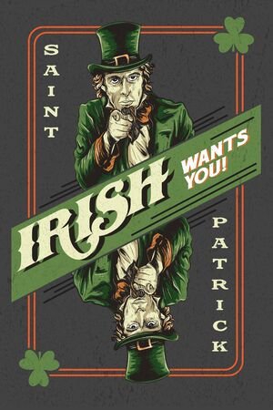saint patrick card theme irish wants you