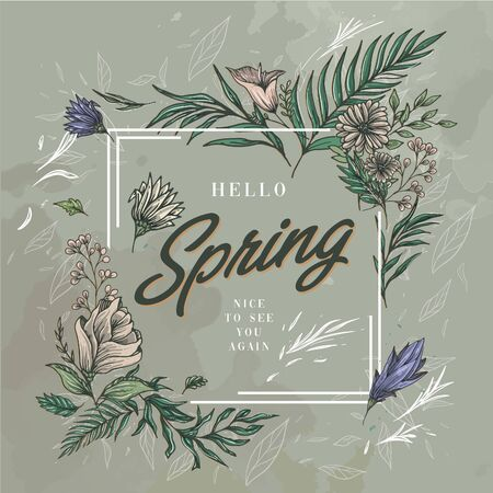 Hello Spring floral in square frame