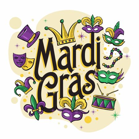 mardi gras elements decorated illustration