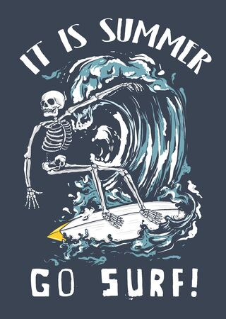 Skeleton skull surfing on the wave Ilustrace
