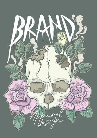 Apparel design with classic skull and roses surrounded Ilustrace
