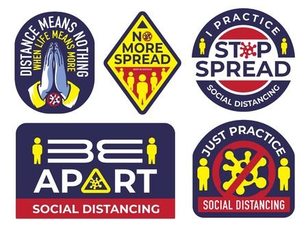 Social Distancing sticker badge idea Ilustrace