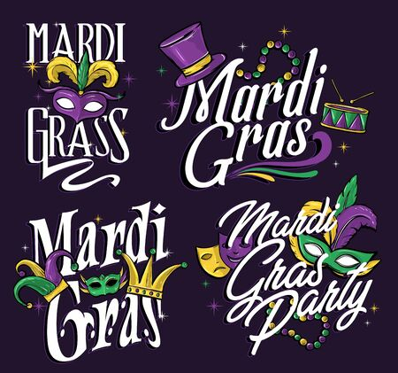 mardi gras theme title illustration