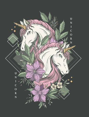 Beautiful luxury unicorn illustration with flowers decorated and geometrical lines