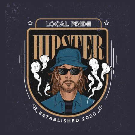 A cool hipster man in a badge graphic